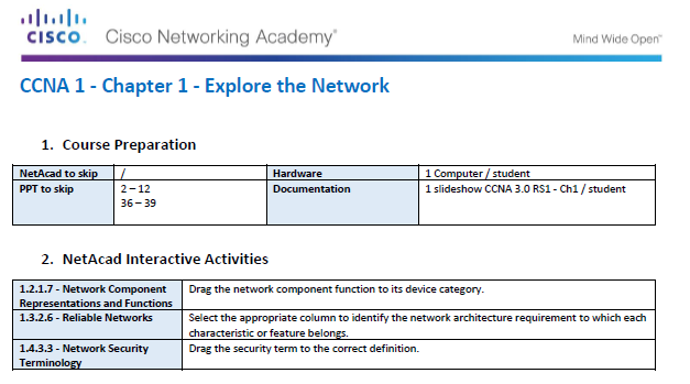 Instructor Guide - CCNA Routing & Switching 1 - Introduction